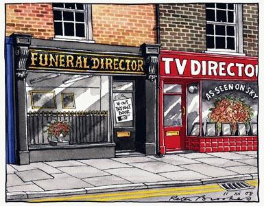 """Vignetta che fa riferimento alla trasmissione su Sky-UK di un suicidio assistito. A destra, sulla porta delle pompe funebri, un biglietto dice di rivolgersi alla porta accanto, dove l'insegna recita """"Regista TV"""""""
